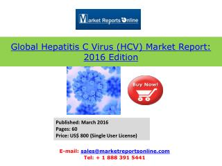 Latest Market Share & Analysis on 2016 Edition Hepatitis C Virus (HCV) Market Report