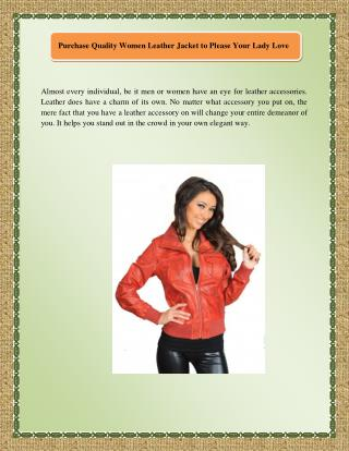 Purchase Quality Women Leather Jacket to Please Your Lady Love
