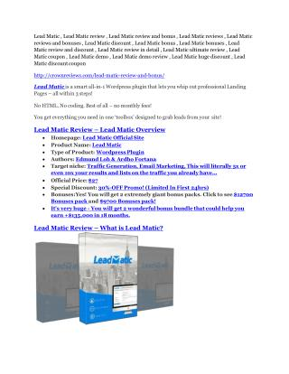 Lead Matic review and (Free) $21,400 Bonus & Discount