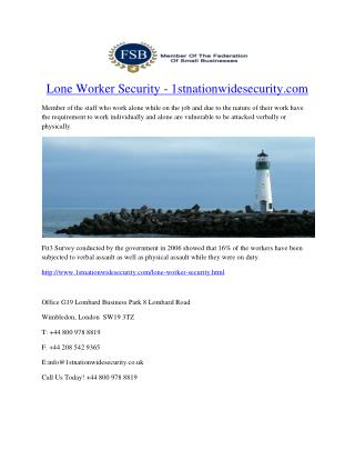 Lone Worker Security - 1stnationwidesecurity.com