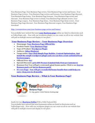 Your Business Page review-$16,400 Bonuses & 70% Discount
