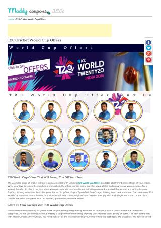 T20 Cricket World Cup 2016 Discount Coupons, Offers & Deals
