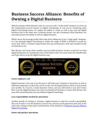 Benefits of Owning a Digital Business by Business Success Alliance