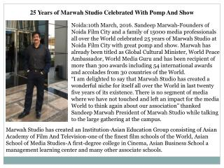 25 Years of Marwah Studio Celebrated With Pomp And Show