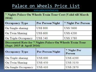 Palace on Wheels Price List