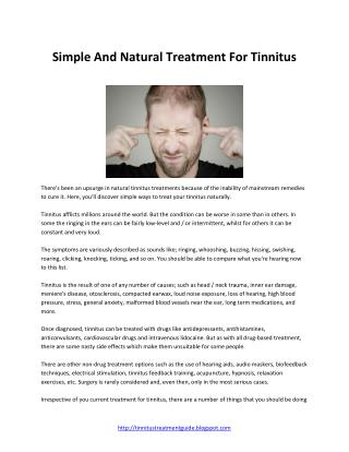 Simple Natural Treatment For Tinnitus