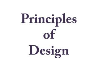 Importance of principle of design