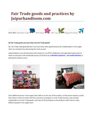 Fair Trade goods and practices by Jaipurhandloom.com