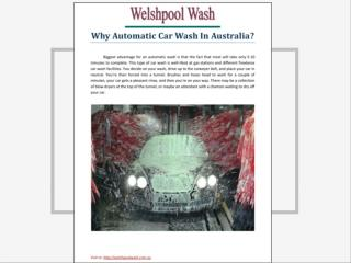 Why Automatic Car Wash in Australia
