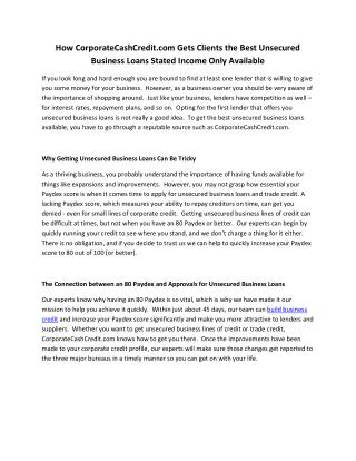 How CorporateCashCredit.com Gets Clients the Best Unsecured Business Loans Stated Income Only Available