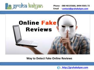 Way to Detect Fake Online Reviews