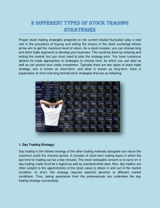 2 Different Types of Stock Trading Strategies