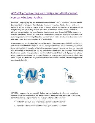 ASP.NET programming web design and development company in Saudi