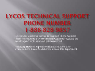 Lycos technical 1-888-828-9857 support phone number