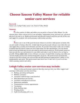 Choose Saucon Valley Manor for reliable senior care services