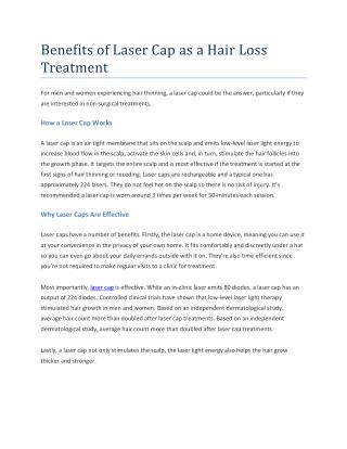 Benefits of Laser Cap As a Hair Loss Treatment