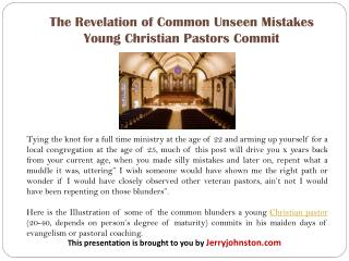 The Revelation of Common Unseen Mistakes Young Christian Pastors Commit