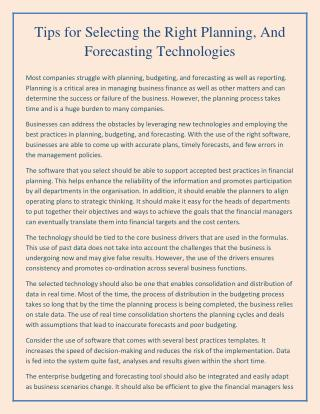 Tips for Selecting the Right Planning, And Forecasting Technologies