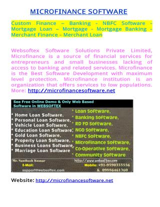 Custom Finance – Banking - NBFC Software - Mortgage - Mortgage Banking - Merchant Finance