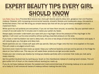Expert Beauty Tips Every Girl Should Know