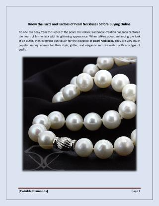 Know the Facts and Factors of Pearl Necklaces before Buying Online