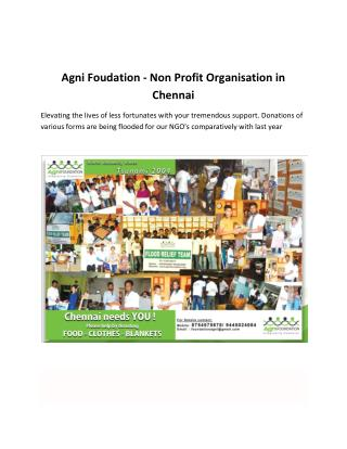 Agni Foudation - Non Profit Organisation in Chennai