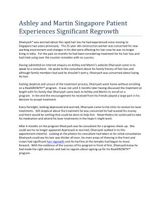 Ashley and Martin Singapore Patient Experiences Significant Regrowth