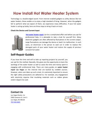 How Install Hot Water Heater System