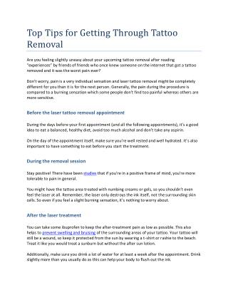 Top Tips for Getting Through Tattoo Removal