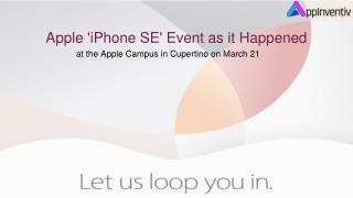 Apple 'iPhone SE' Event as it Happened