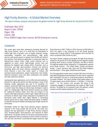 High Purity Alumina Market to Reach $5.6B by 2022 with Increasing Demand in LEDs and Semiconductors.
