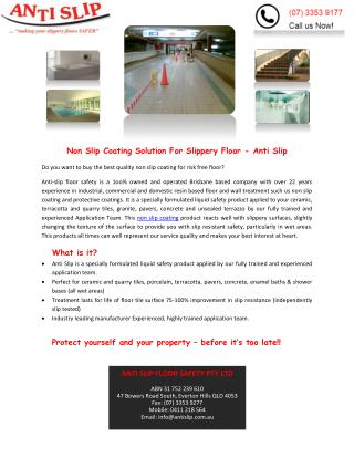 Non Slip Coating Solution For Slippery Floor - Anti Slip