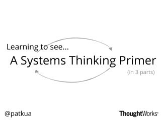 A Systems Thinking Primer: Learning to see