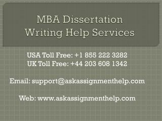 MBA Dissertation Writing Help Services in USA and UK