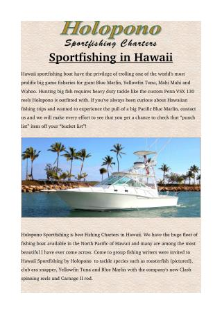 Holopono sportfishing in Hawaii