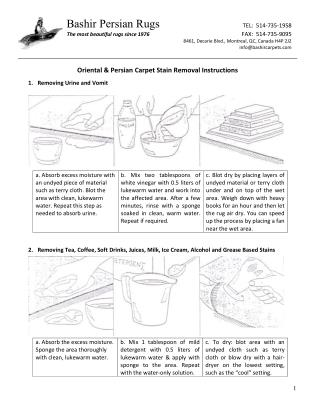 Persian & Oriental Carpet Stain Removal Instructions