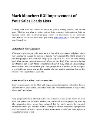 Mark Moncher: ROI Improvement of Your Sales Leads Lists