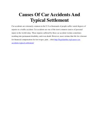 Causes Of Car Accidents And Typical Settlement