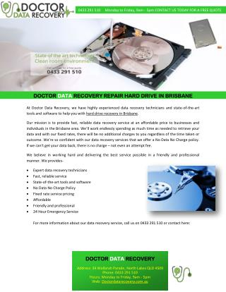 DOCTOR DATA RECOVERY REPAIR HARD DRIVE IN BRISBANE