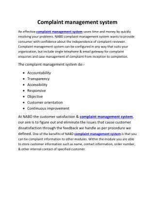 Complaint management system & software