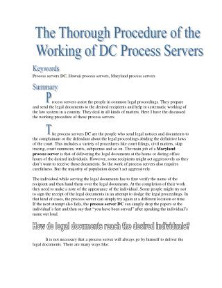The Thorough Procedure of the  Working of DC Process Servers