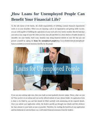 Loans for unemployed people in UK
