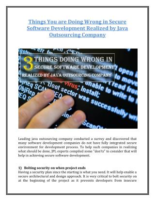 Things You are Doing Wrong in Secure Software Development Realized by Java Outsourcing Company