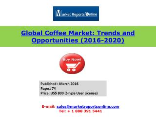 Asia Coffee Market Analysis Forecasts 2016 to 2020