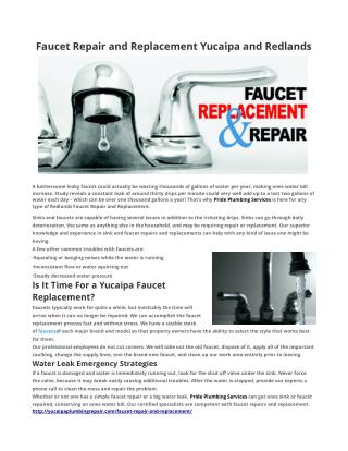 Faucet Repair and Replacement Yucaipa and Redlands