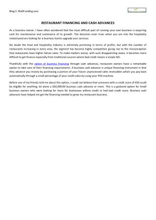 Restaurant Financing and Cash Advances