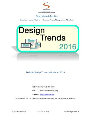 Website Design Trends in India for 2016