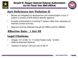Ronald W. Reagan National Defense Authorization Act for Fiscal Year 2005 (NDAA)