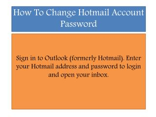 Hotmail Account Password Reset Phone Number