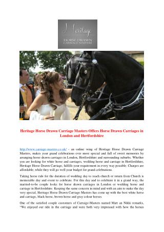 Heritage Horse Drawn Carriage Masters Offers Horse Drawn Carriages in London and Hertfordshire